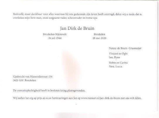 Overlijden Jan de Bruin