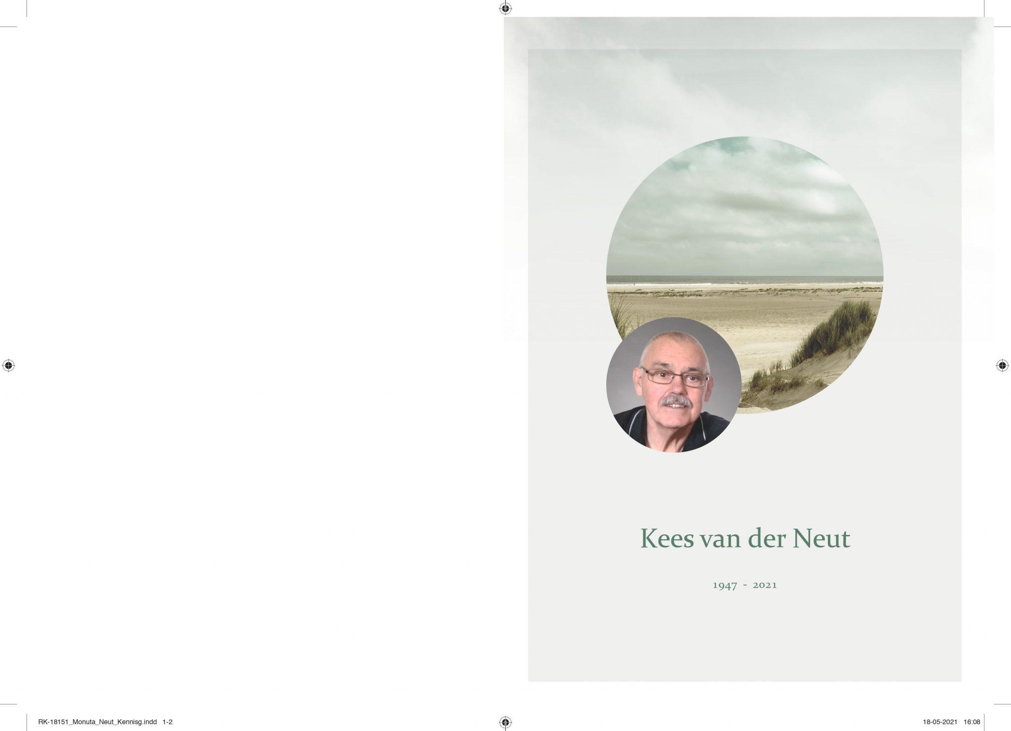 Kennisgeving overlijden Kees van der Neut