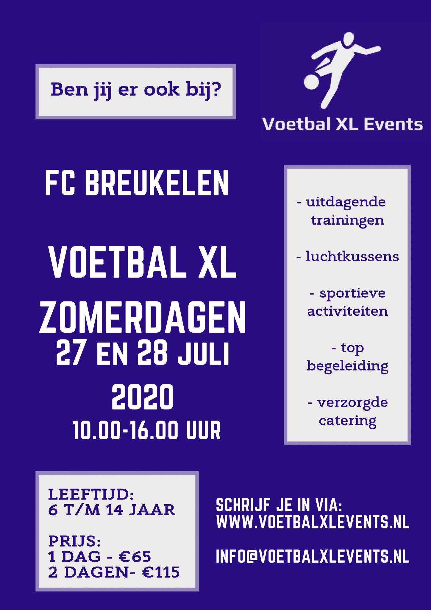 Voetbal XL Zomerdagen bij FC Breukelen! 27 en 28 juli